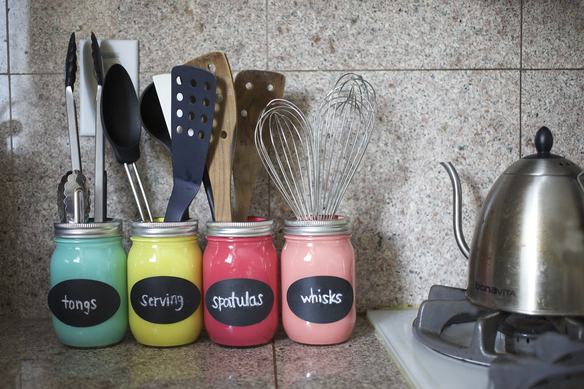 Brighten Up Your Kitchen With a Colorful DIY Mason Jar Organizer